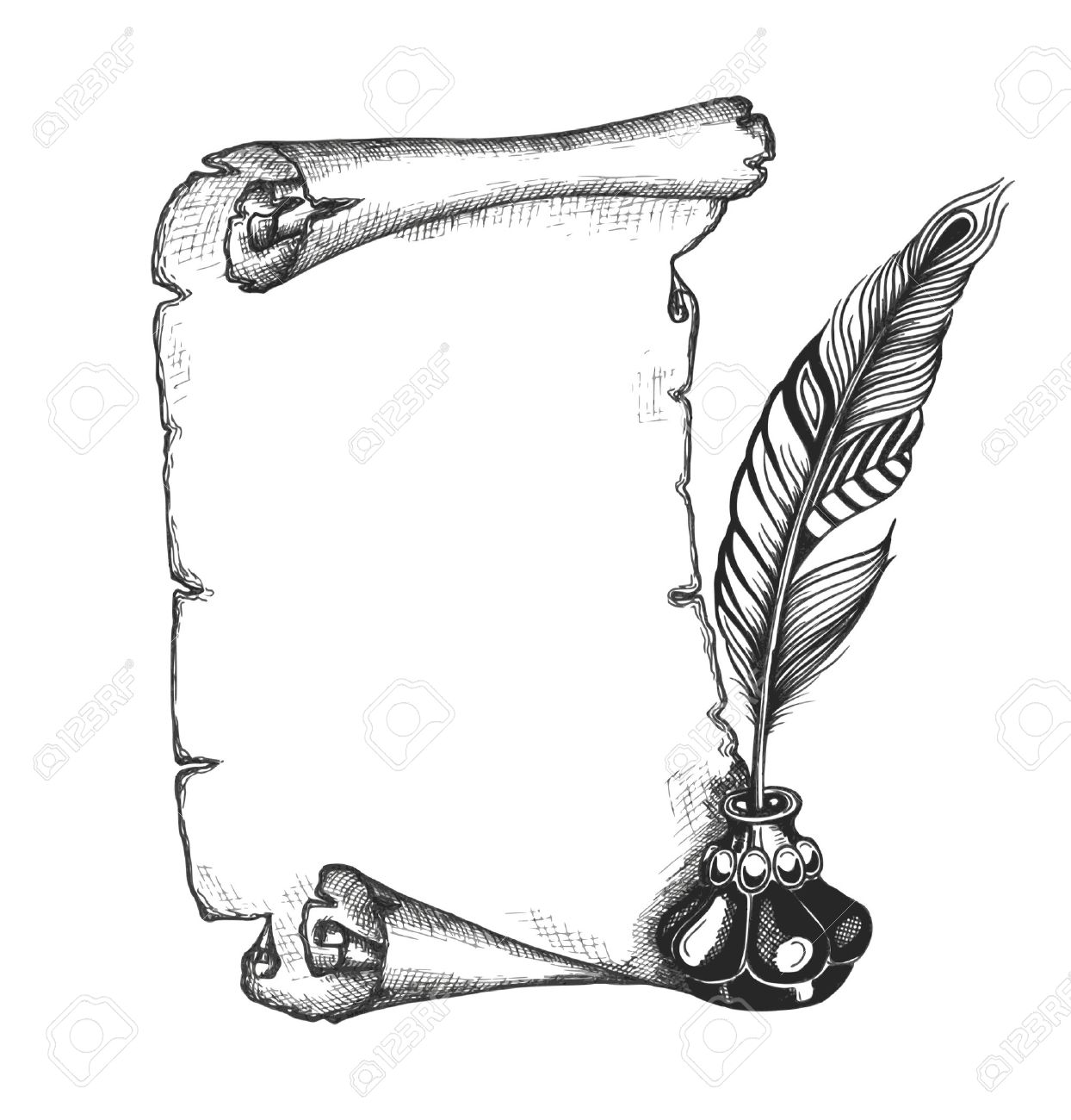 beauty feather and blank scroll paper. quill pen, decorated, Powerpoint templates