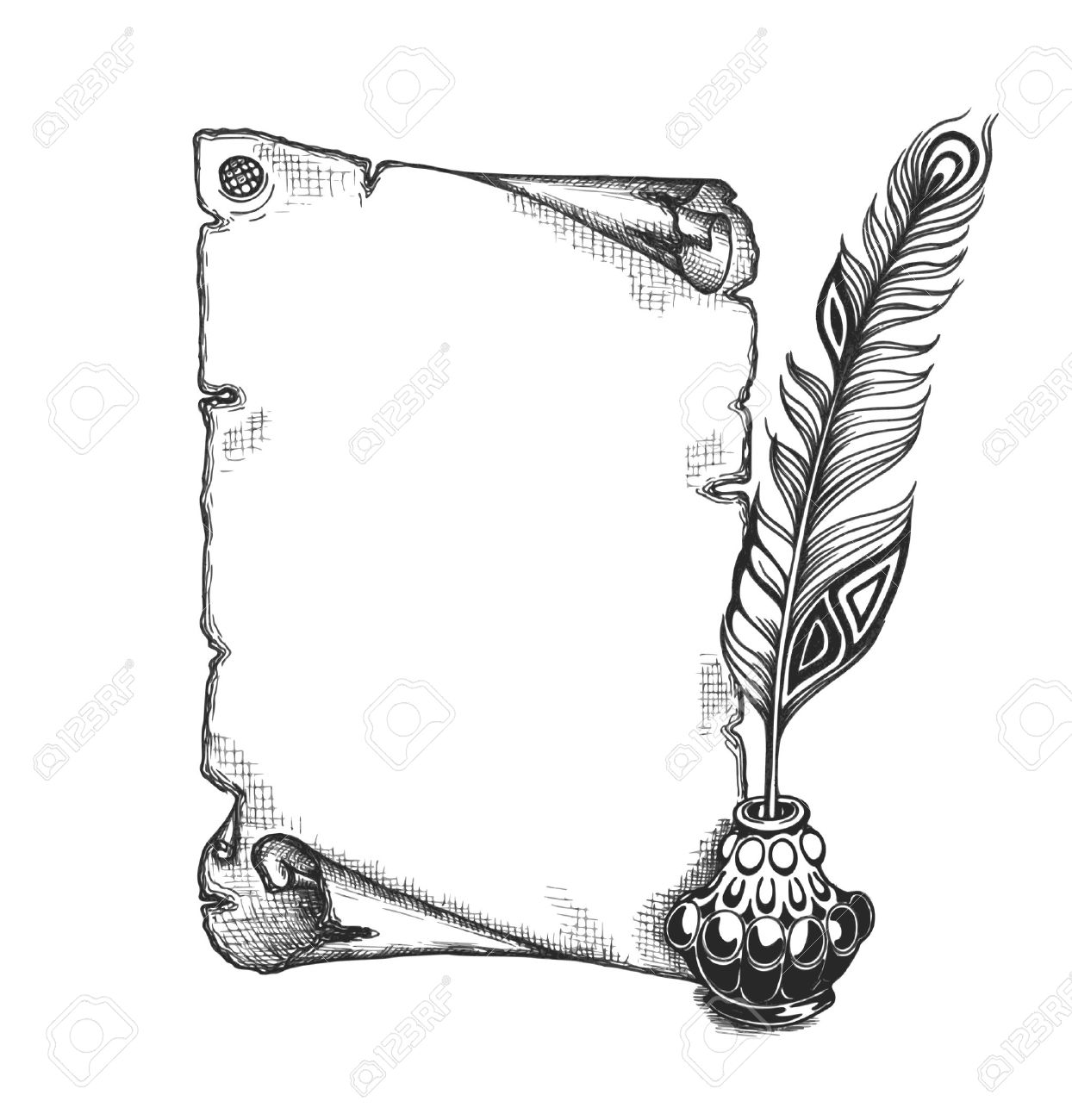 Quill pen and inkwell sketch — Stock Vector © lhfgraphics #14135107