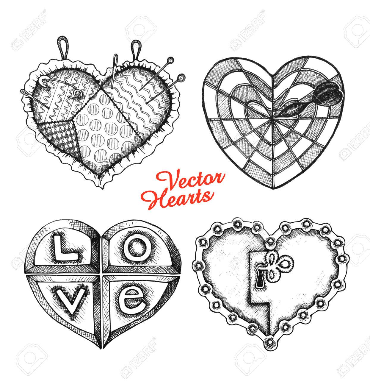 Conjunto De Corazones De Dibujo Elementos De Amor Para El Día De
