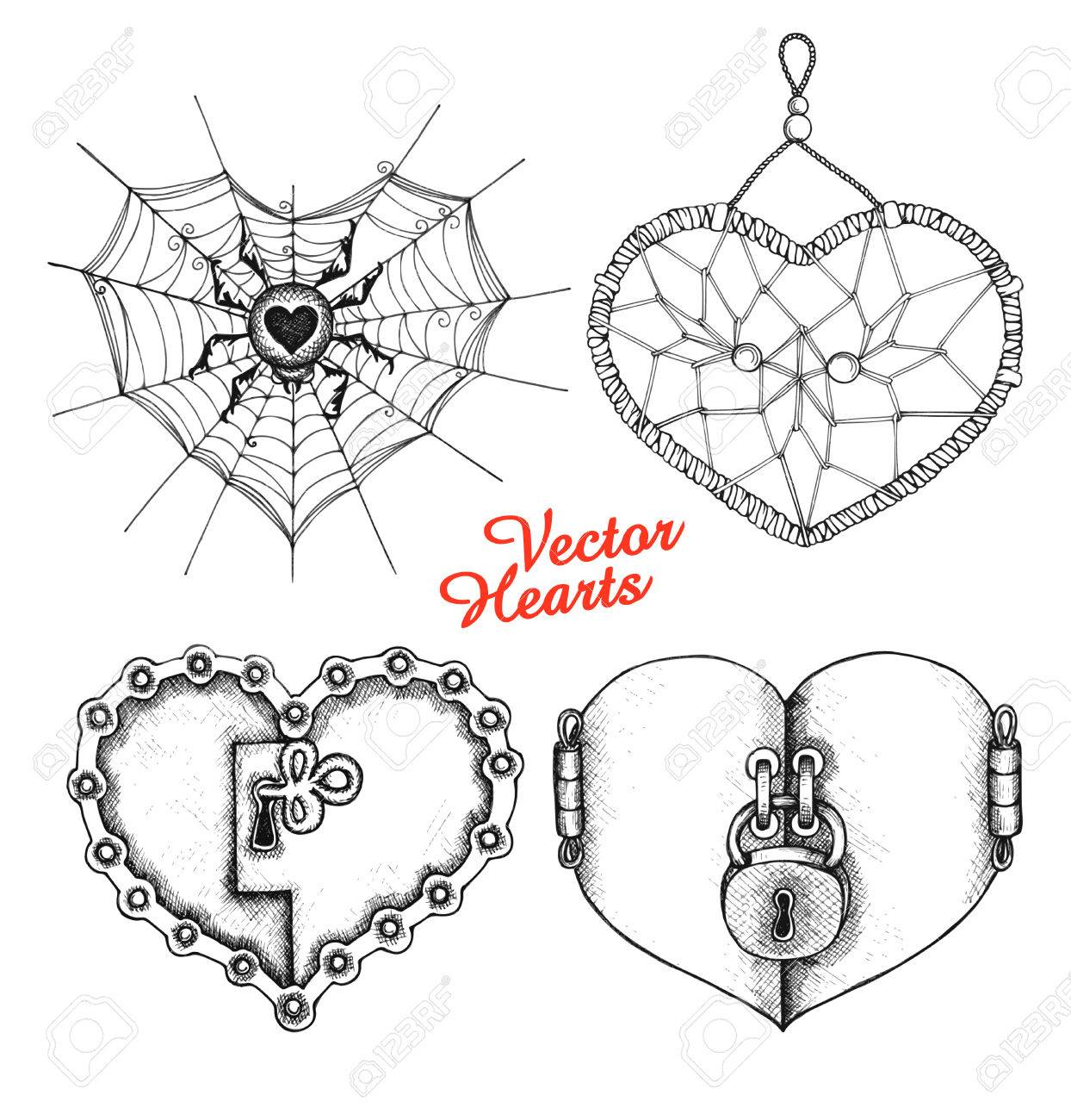 Conjunto De Corazones En El Estilo De Dibujo Elementos De Amor Para