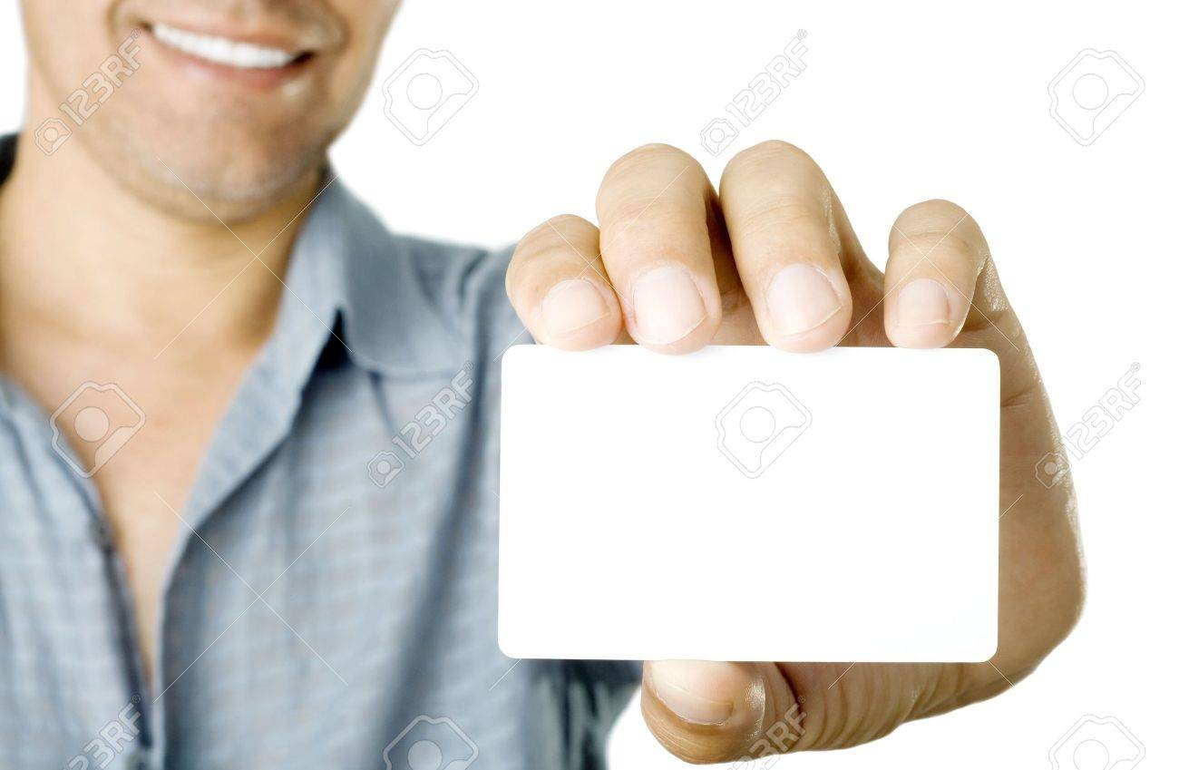 Blank Business Card In A Hand Stock Photo, Picture And Royalty ...