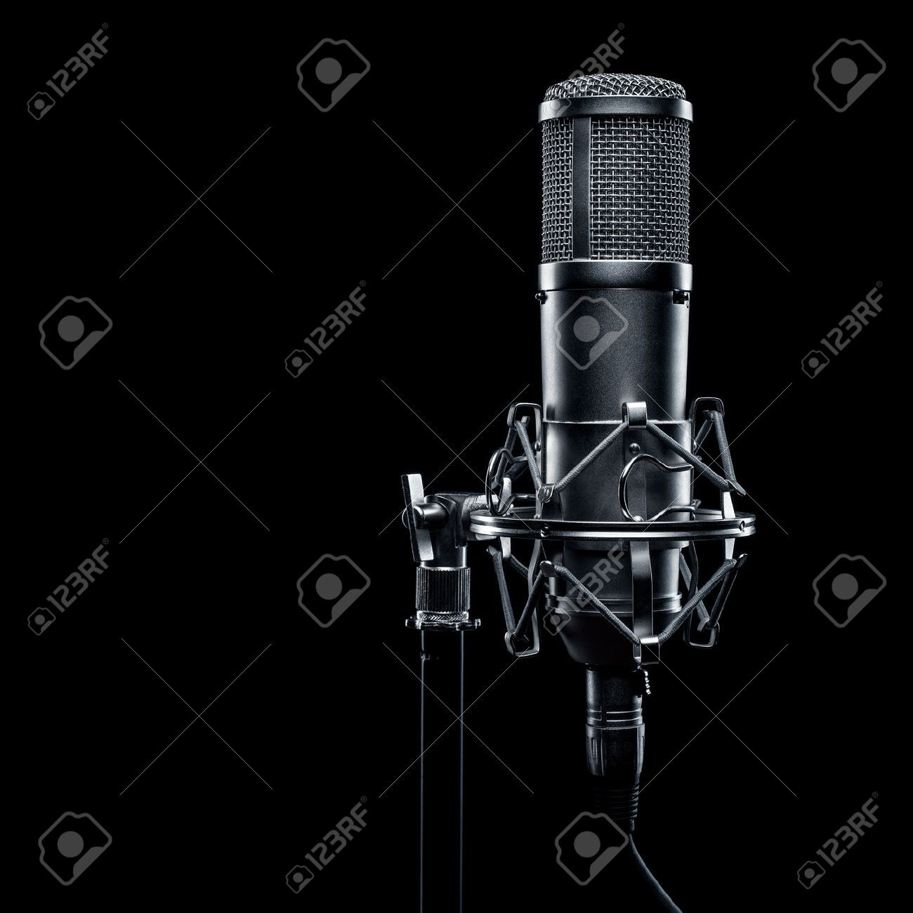 Studio Microphone On A Black Background Stock Photo Picture And Royalty Free Image Image 47169990
