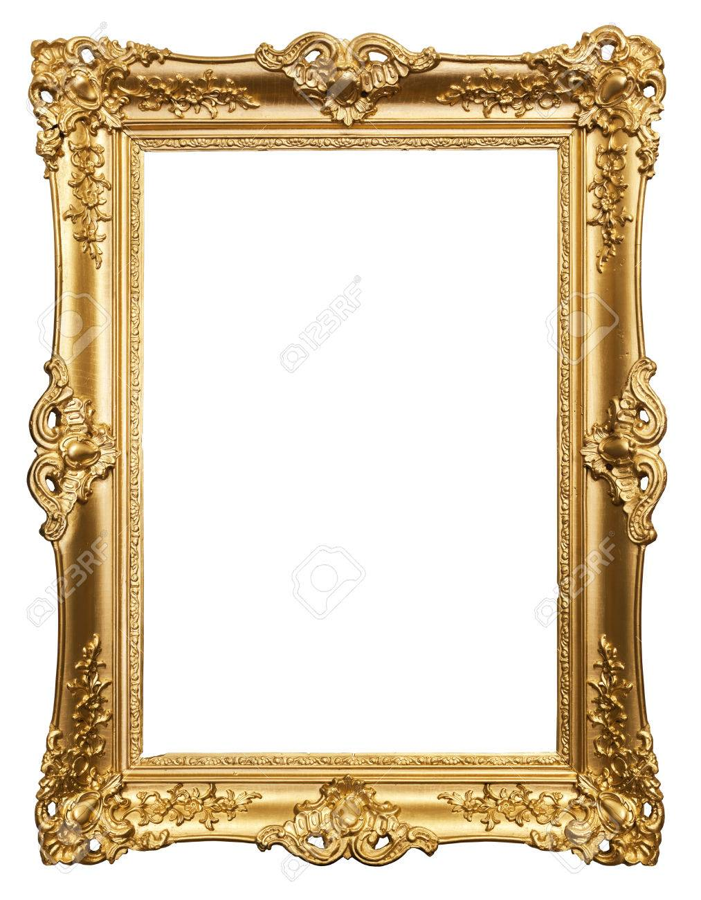 Carved Gilded Frame On A White Background Stock Photo, Picture And ...