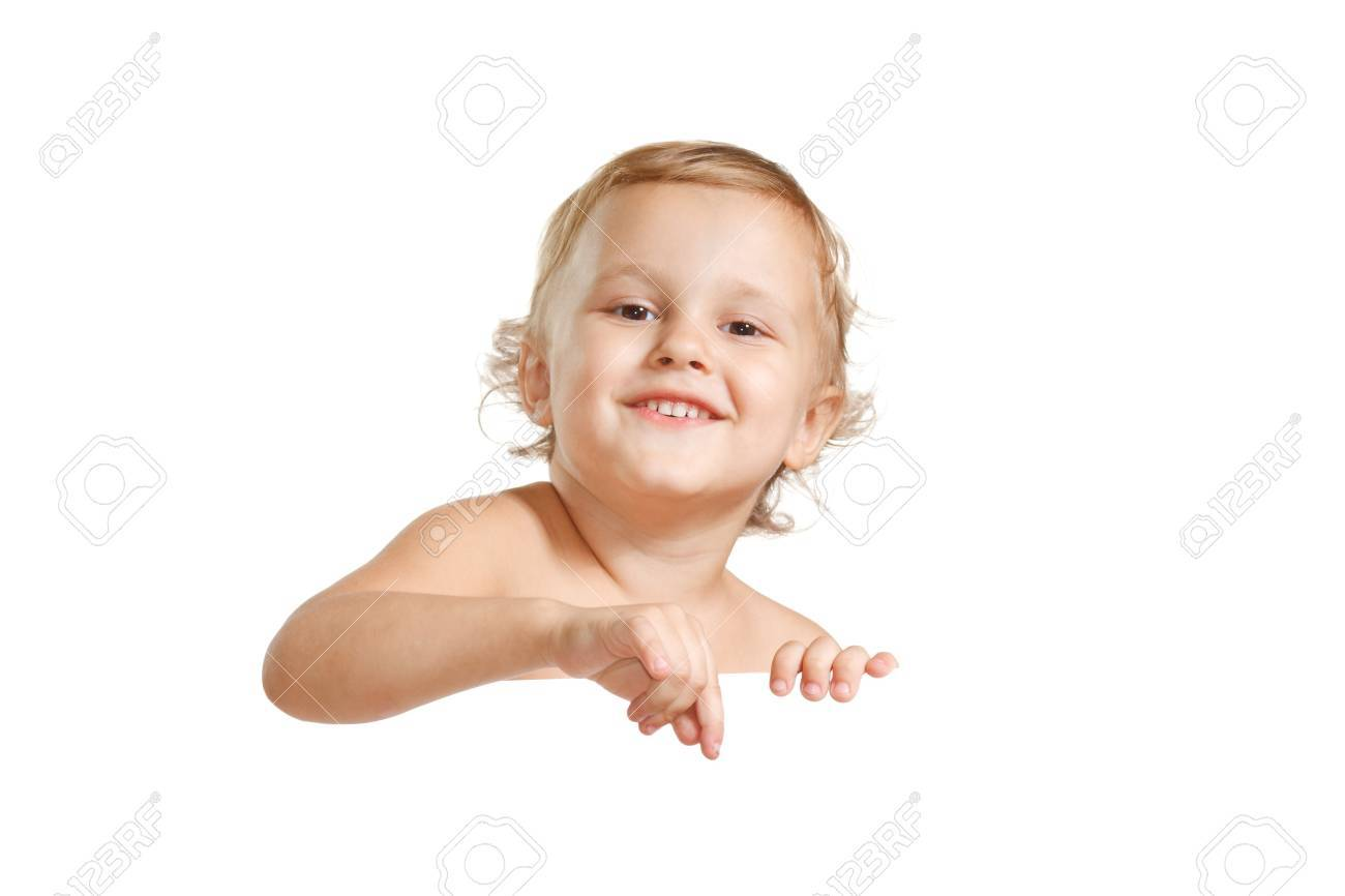 Little cute boy holding a white blank Stock Photo - 10618135