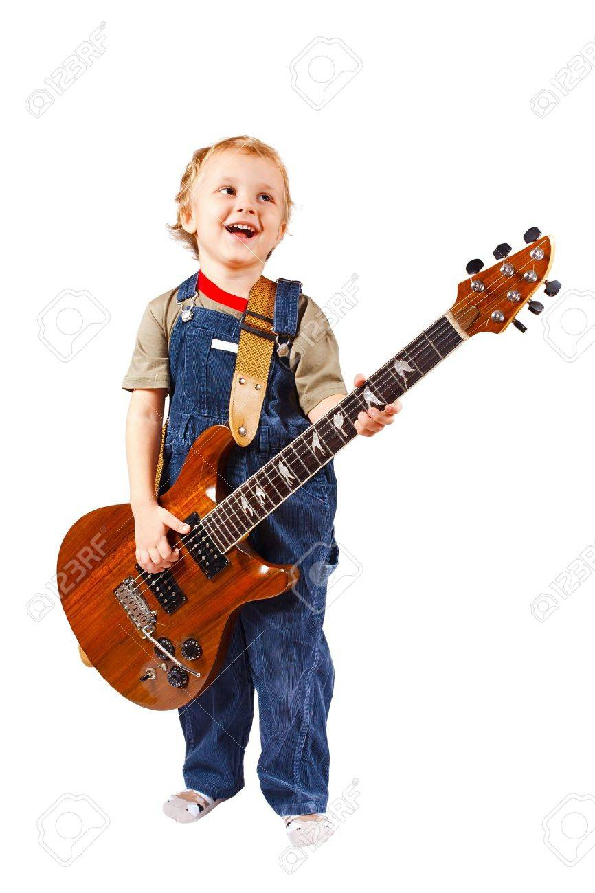 Little boy with electric guitar on white background Stock Photo - 11392277