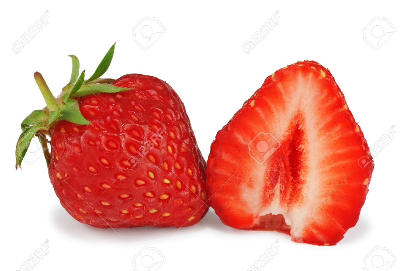 Sliced fresh strawberries isolated on white background Stock Photo - 13896691