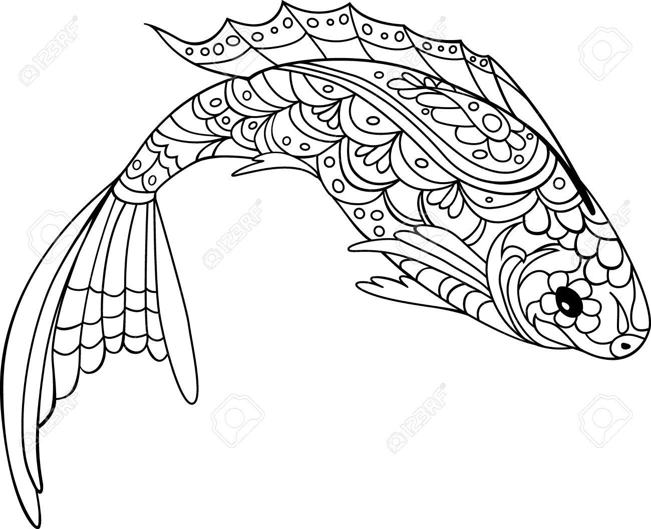 fish zentangle style. Coloring book for adult and kids, antistress..