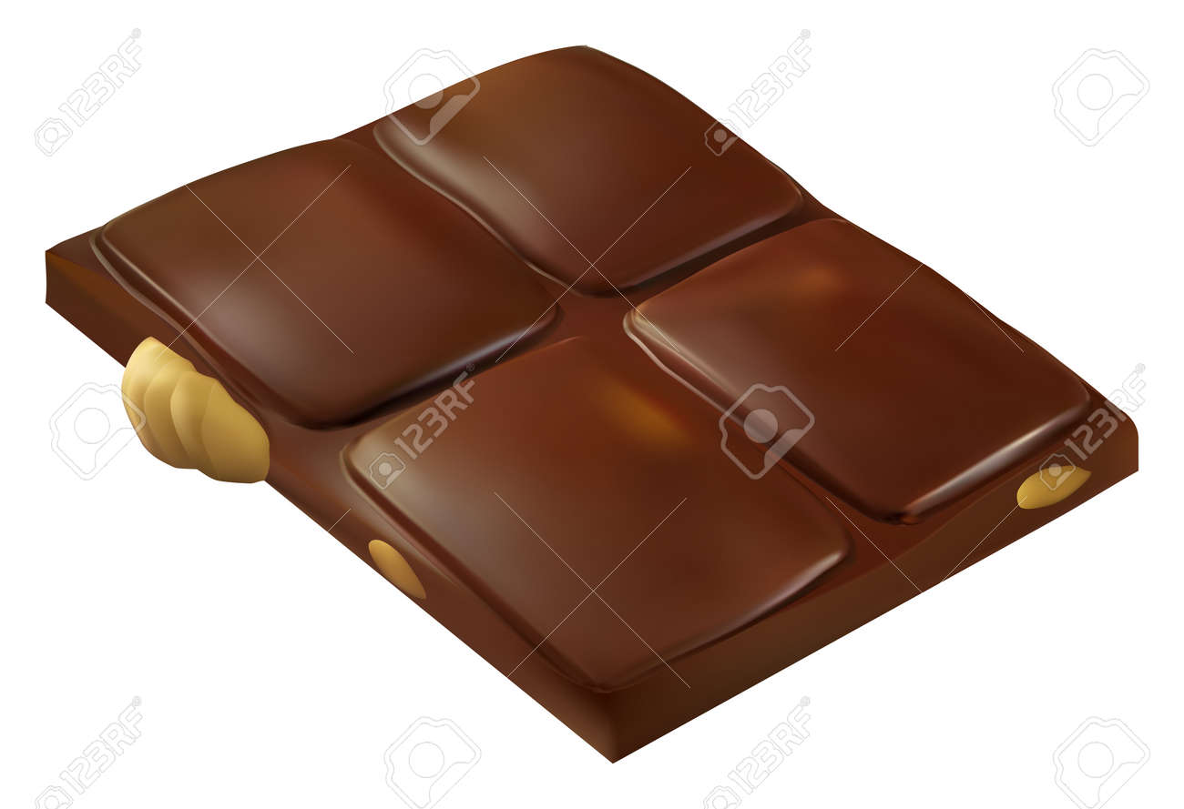 Chocolate bar piece with whole big hazelnuts. Realistic vector illustration. Candy isolated on white - 159141880