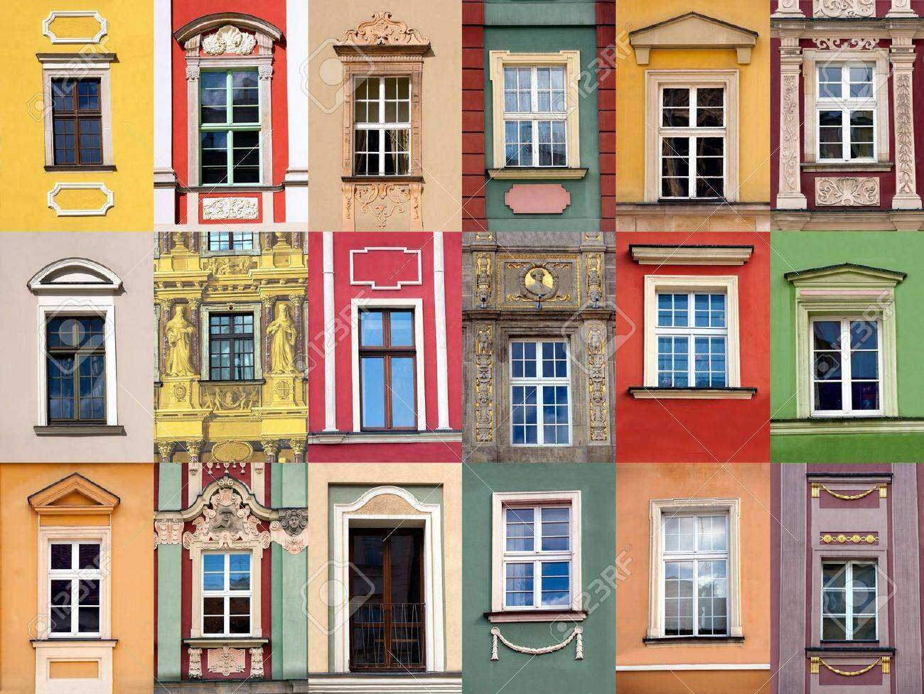 Set Of Windows At Colorful Front Of Building Stock Photo, Picture ...
