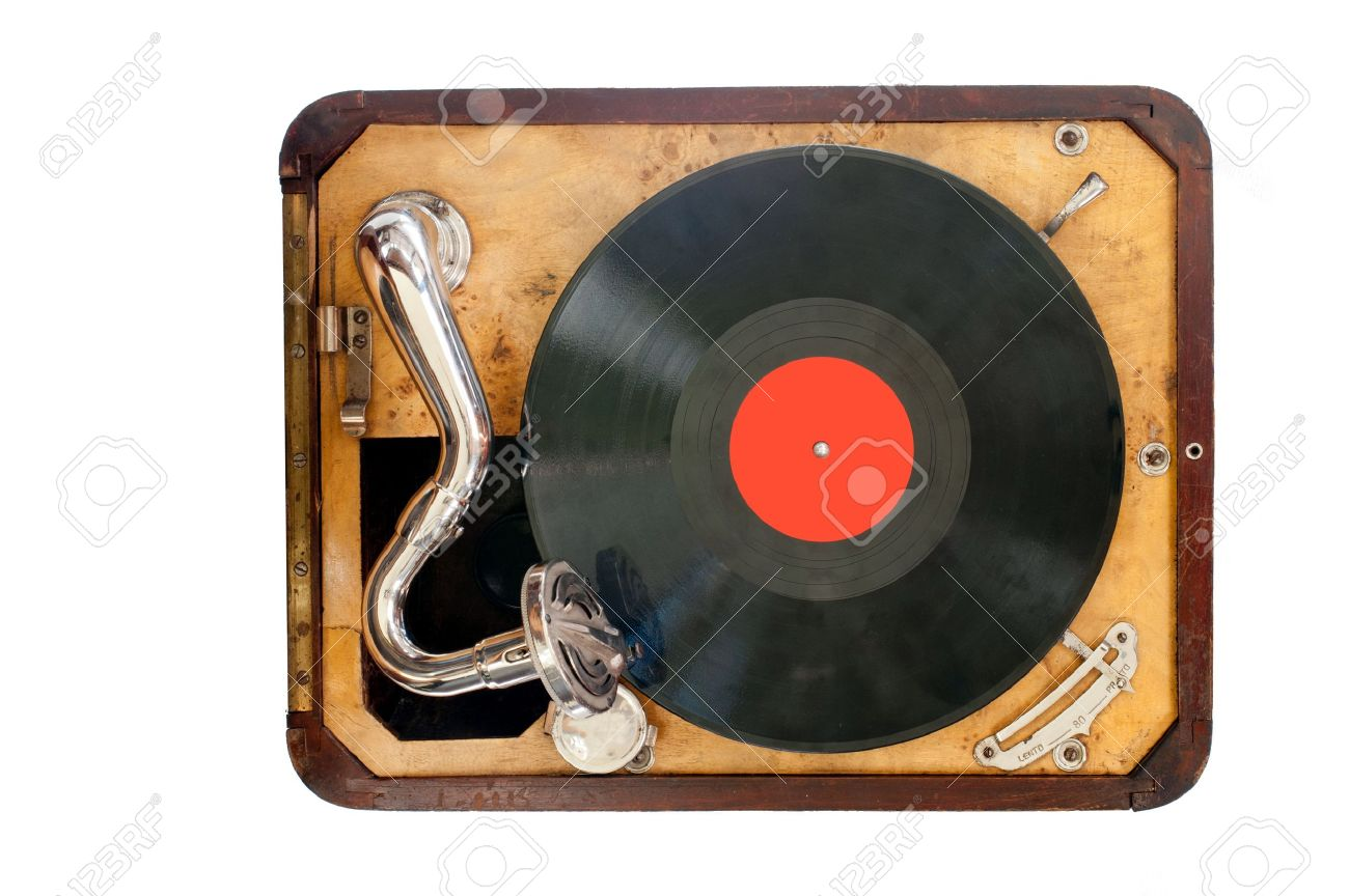 Old gramophone with black vinyl record view from the top Isolated object - 14110613