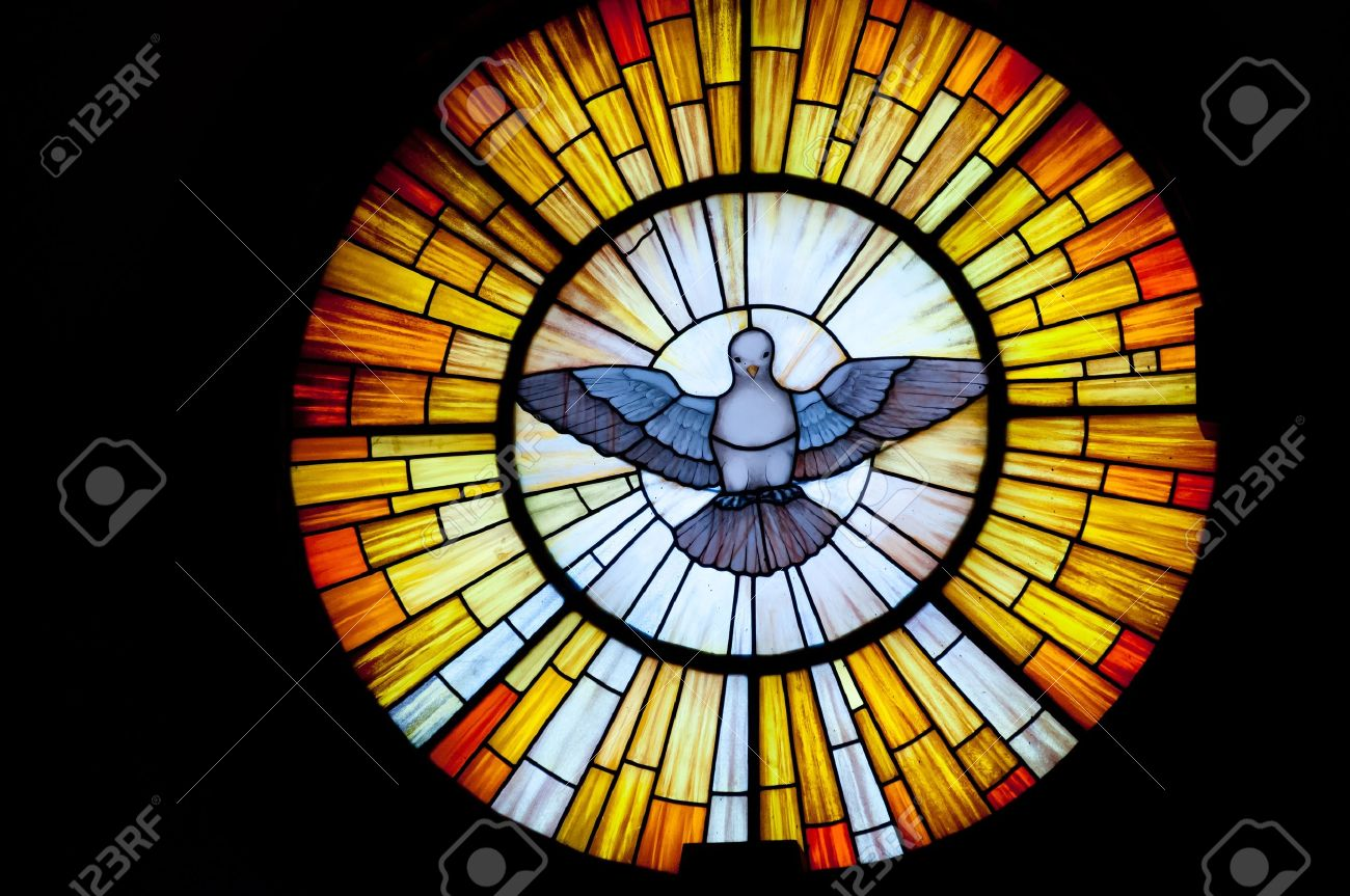 Stained glass picture of Outpouring of the Holy Spirit - photo taken in a church - 14096379