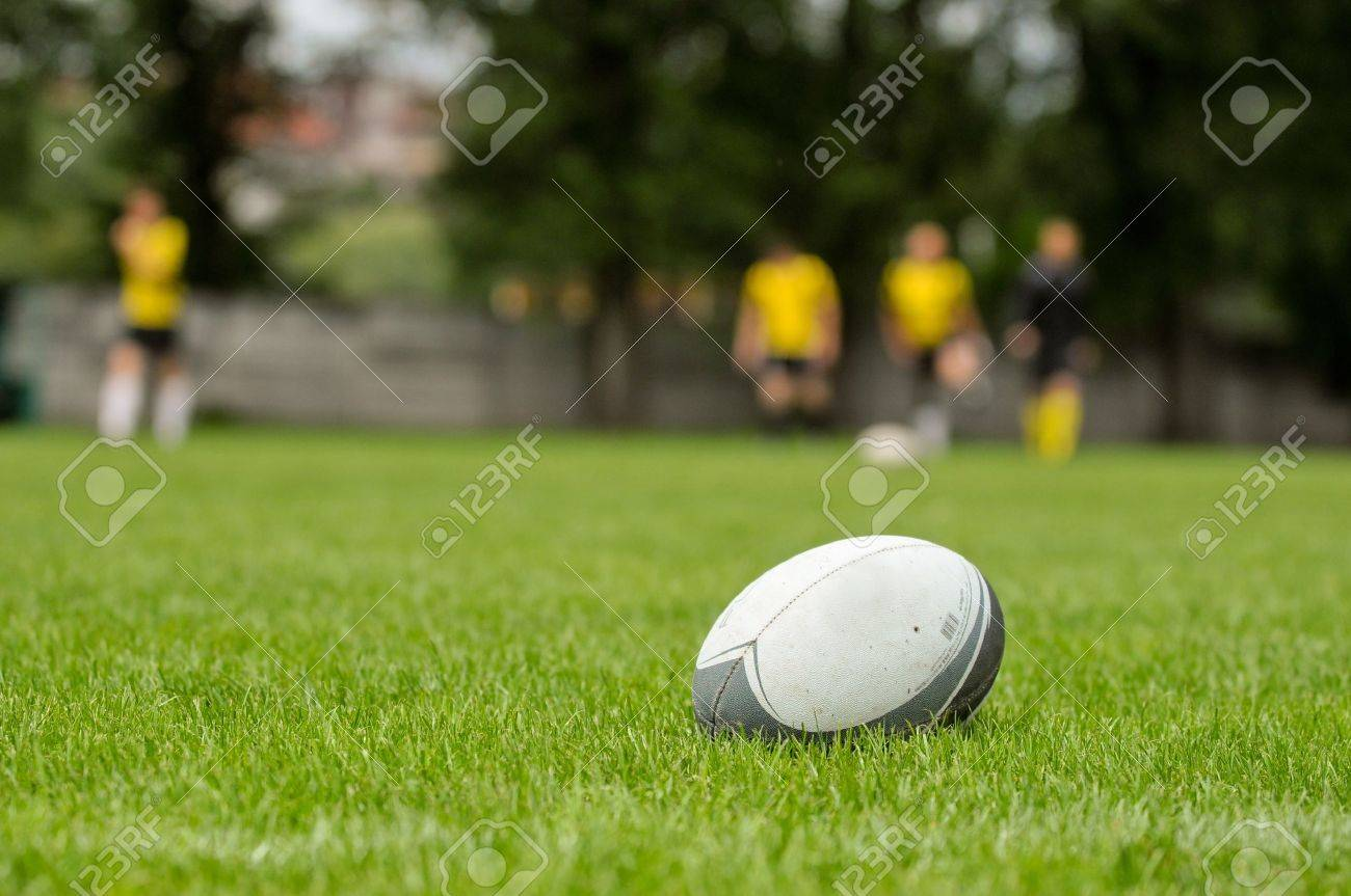 Rugby ball at green grass Photo taken at rugby training - 14096321