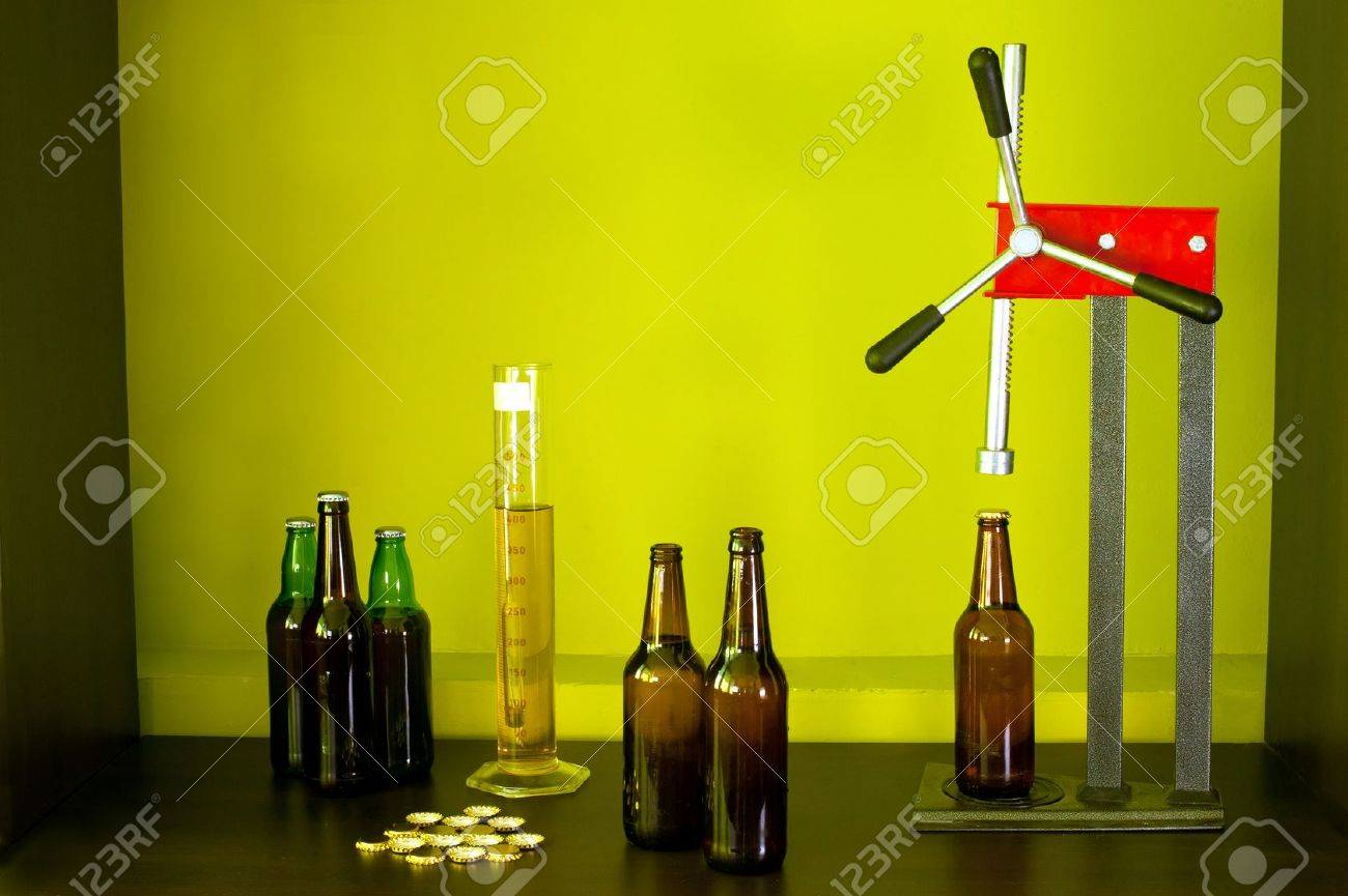 Home brewing beer bottle, caps, crowner, areometer and measuring cylinder - 14585883