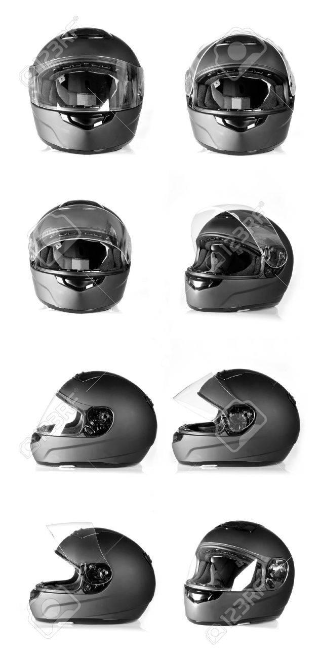 Set of black, flip-up visor motorbike helmet Side, front and angle view - 15458375