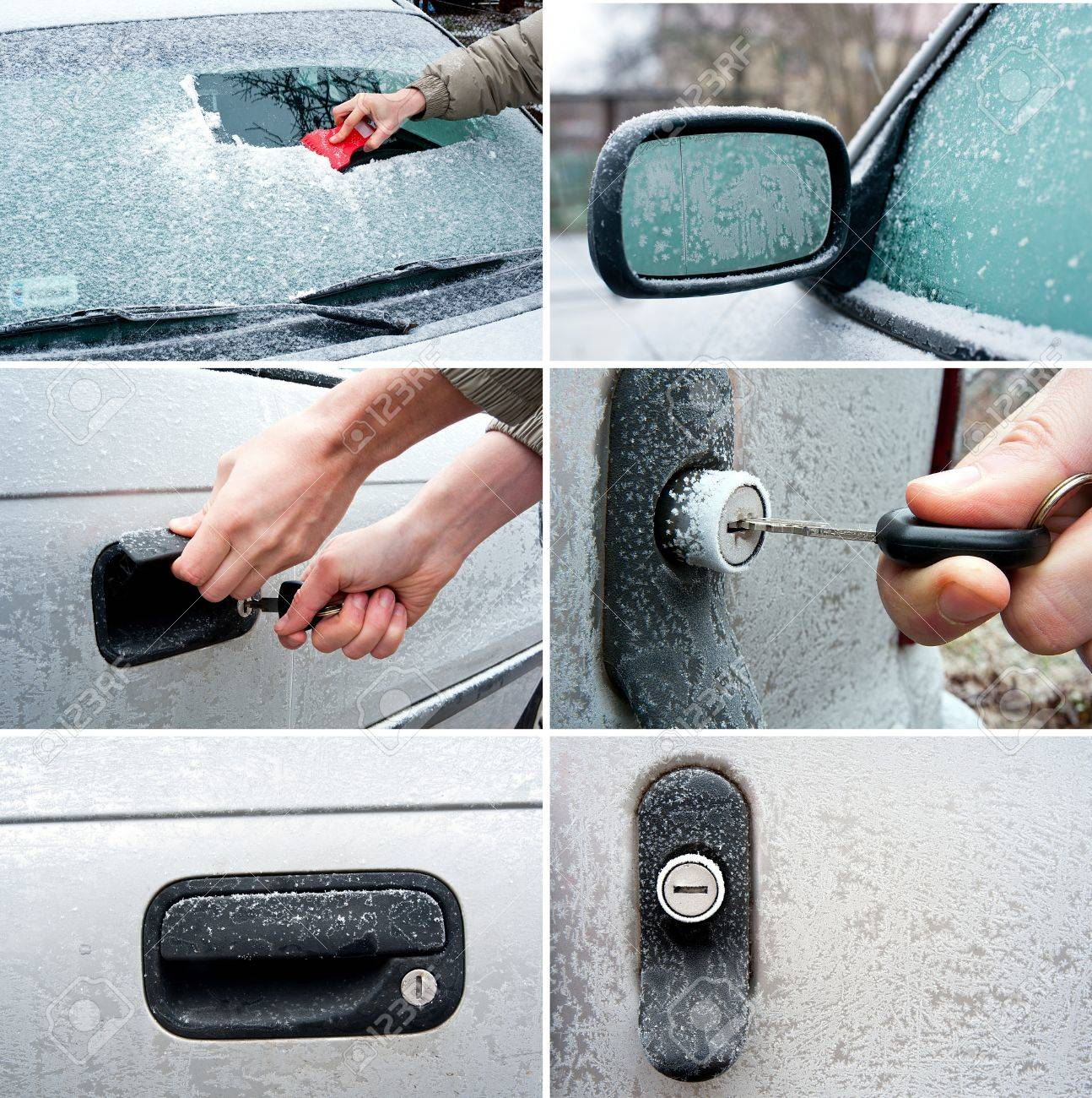 set of frozen car related photos Unlocking a frozen car door - 16729229
