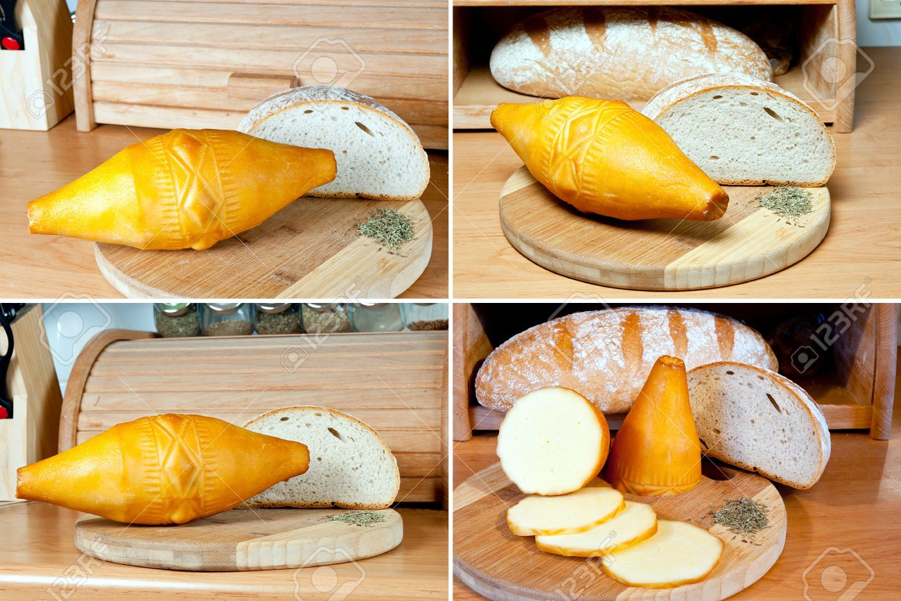 Oscypek - Polish traditional, smoked cheese made with sheep s milk It is produced on the Tatra Mountains area Oscypek at wooden board and loaf of bread - 17213157