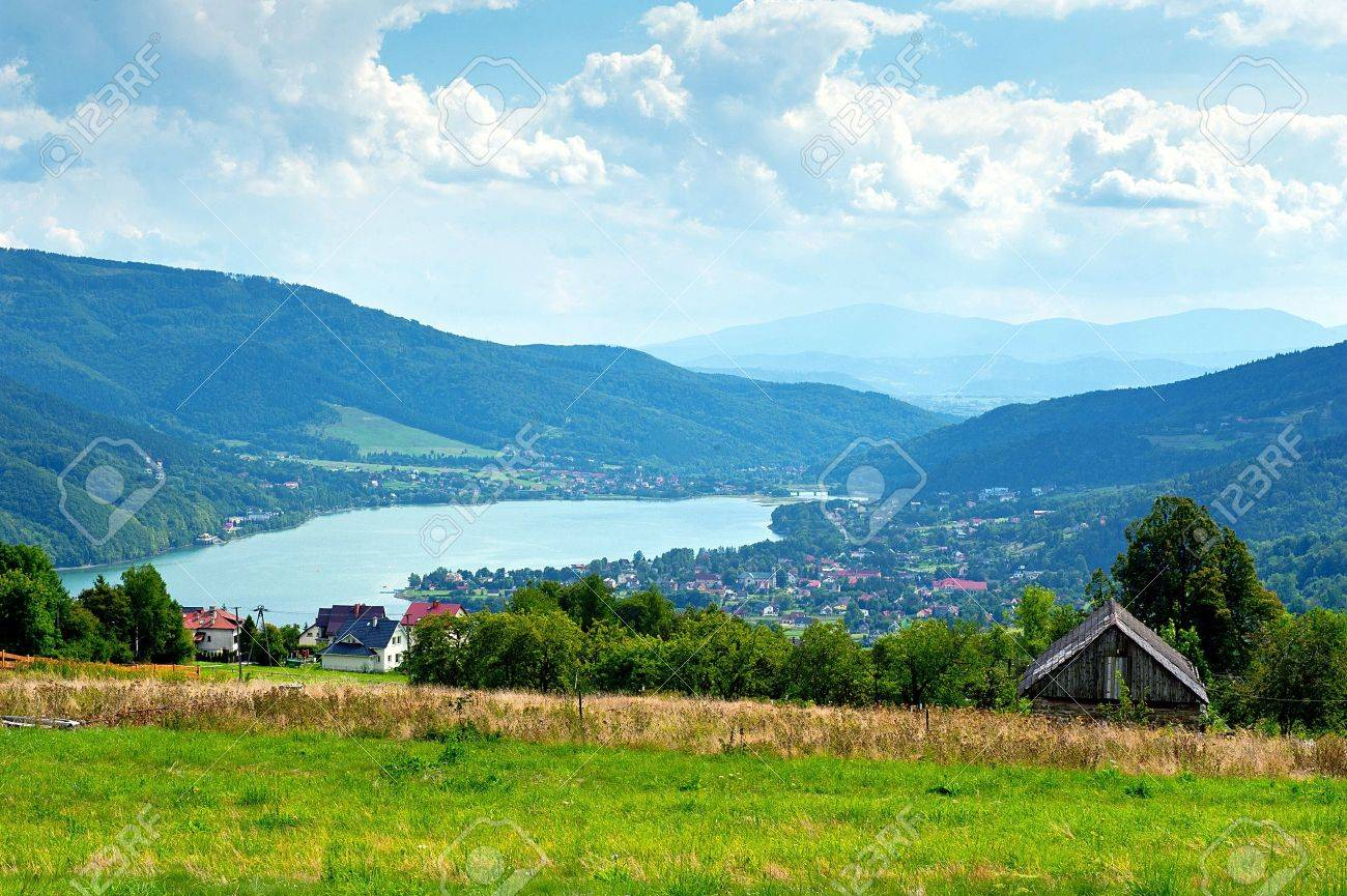 Miedzybrodzie zywieckie - little city in beskidy mountain range in Poland - 22257399