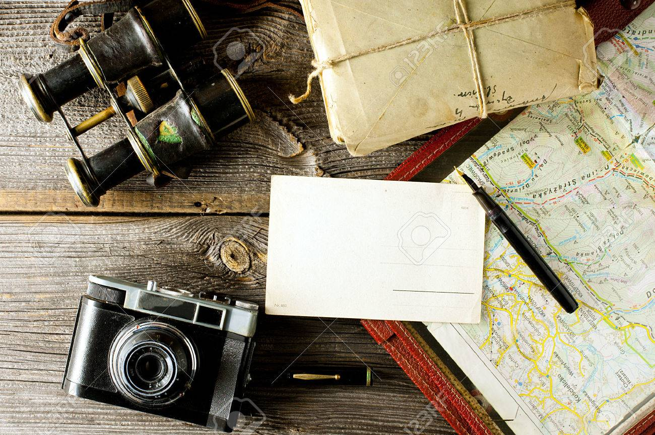 letter from travel concept - old map holder, camera and binoculars - 34235819