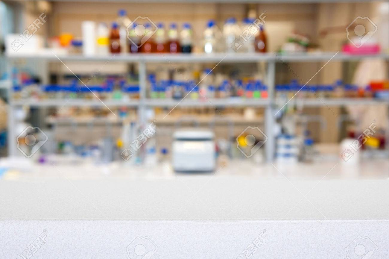 empty laboratory top or bench against blurred laboratory - 35083632