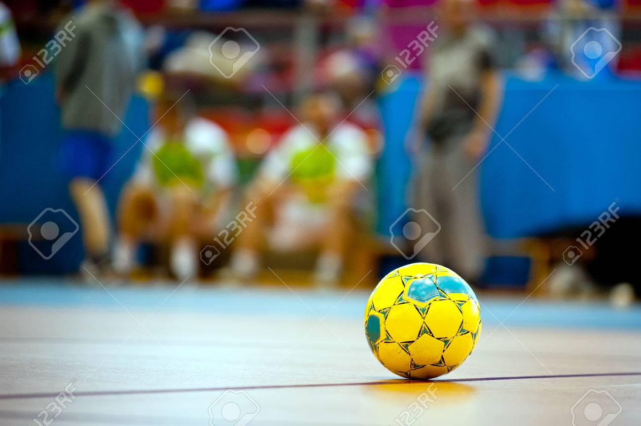 indoor football or soccer ball at floor - 38334217