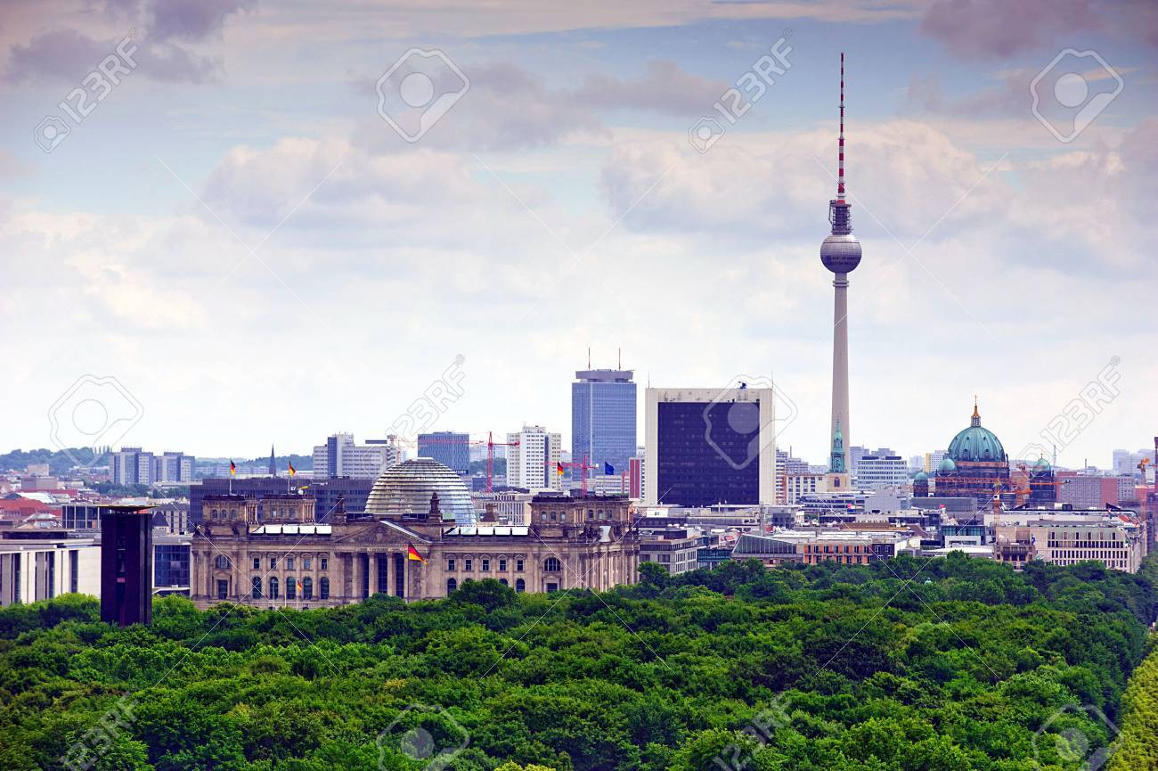 view of Berlin and landmarks: tv tower, cathedral dome, Tiergarten and reichstag - 42088026