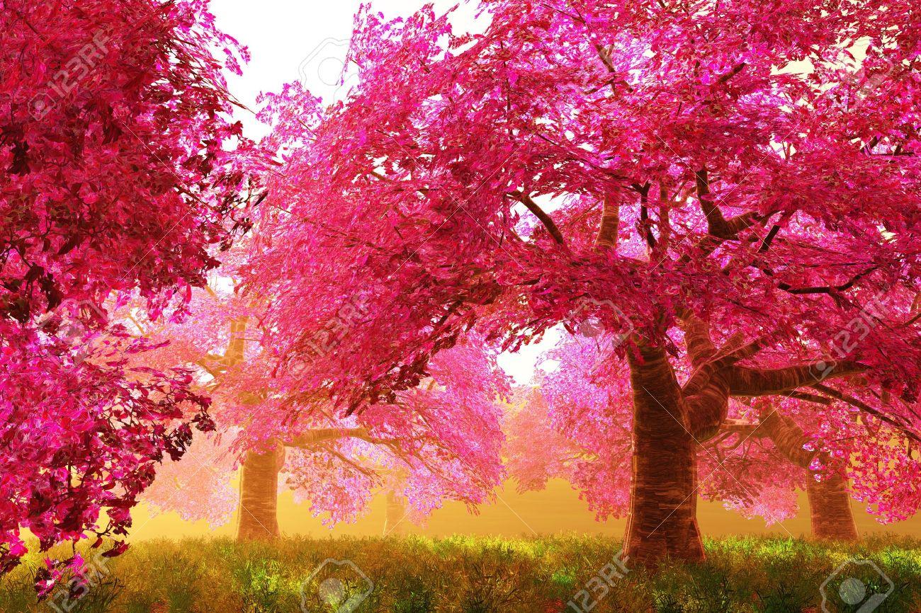 Mysterious Cherry Blossoms Japanese Garden cartoony 3D render Stock Photo - 12453449