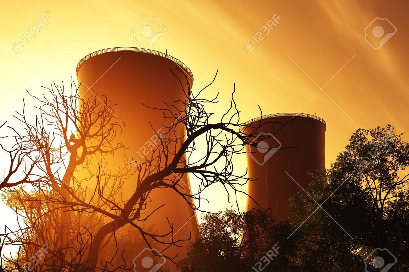 Nuclear power plant 3D render Stock Photo - 12780604
