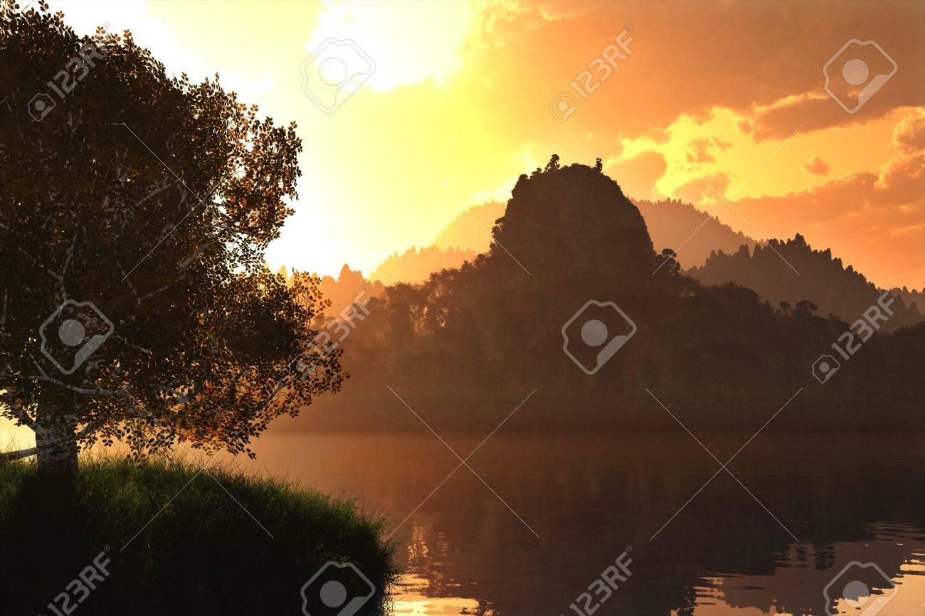 Beautiful Autumn Lake Nature Scene 3D render Stock Photo - 17168635