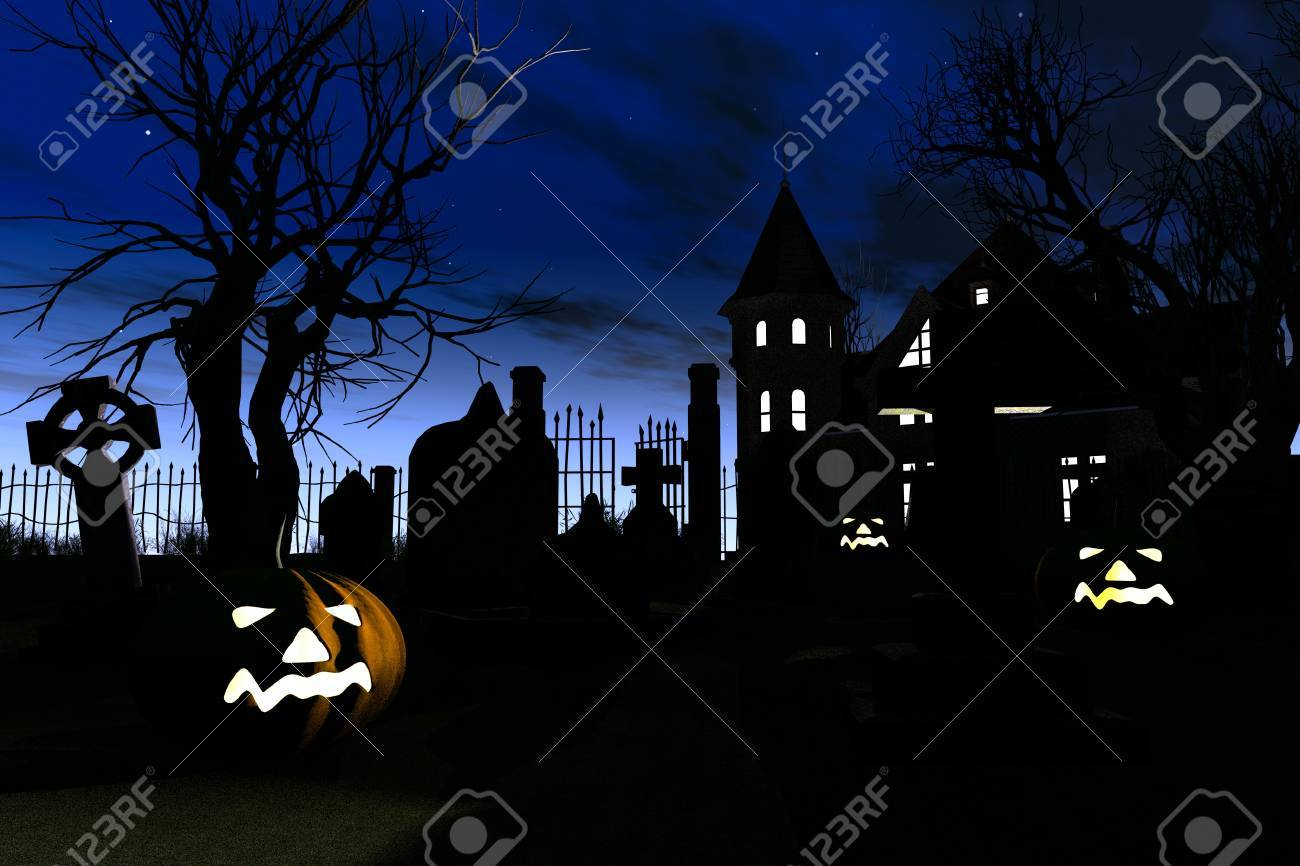 halloween cemetery 3d render stock photo, picture and royalty free