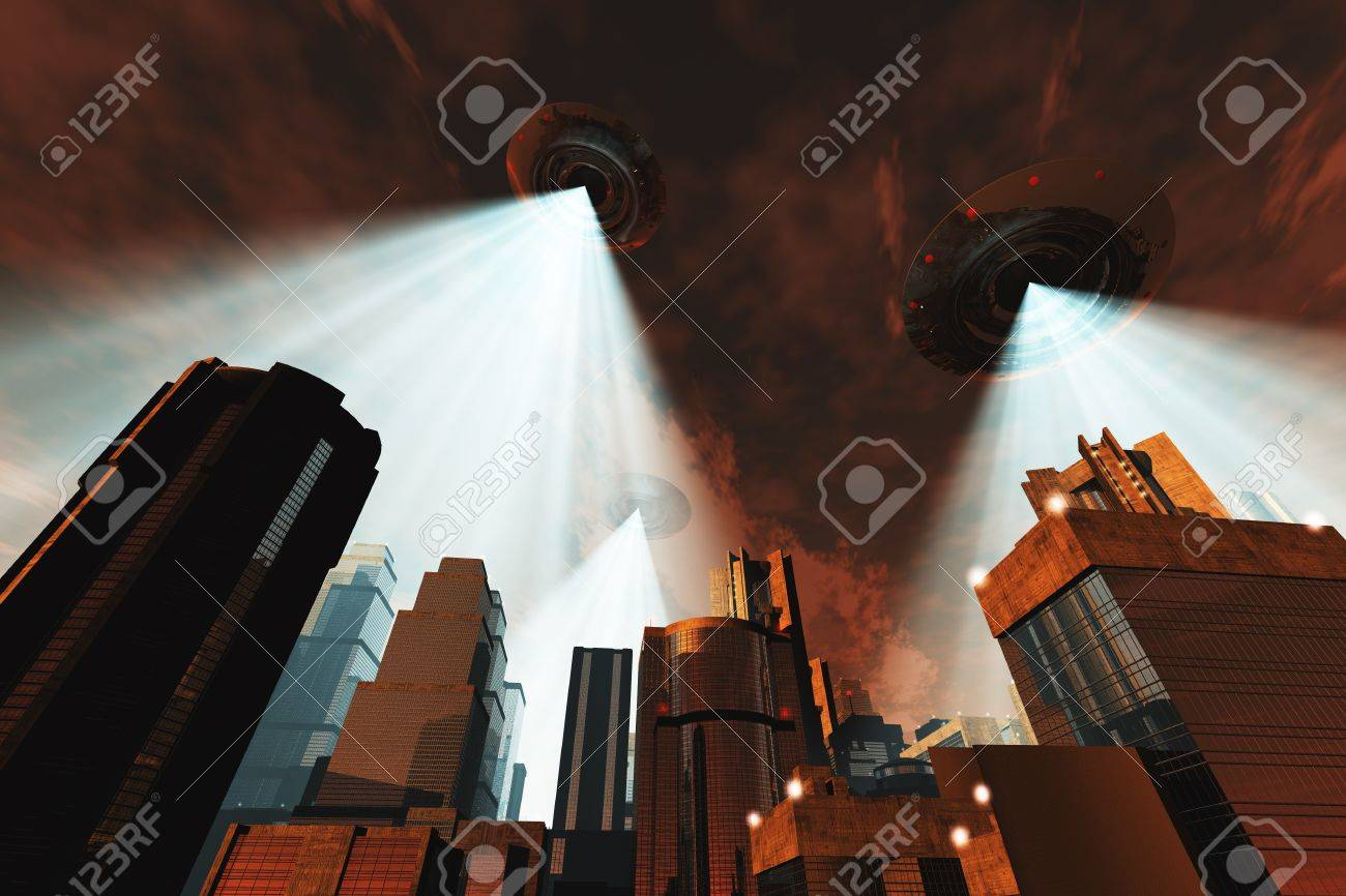 Ufo Flying on Earth at Night over Field Stock Photo - 18232452