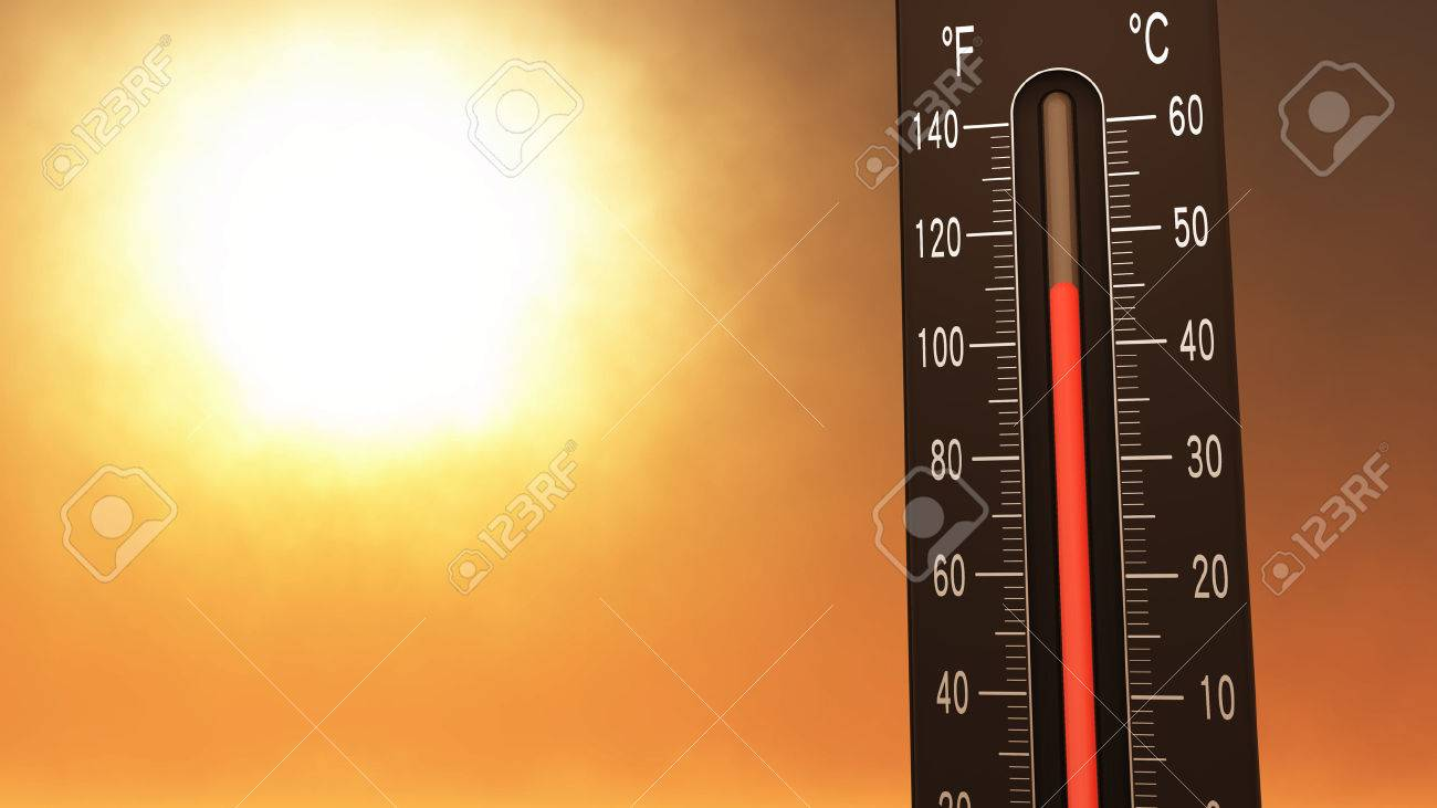 Thermometer Fahrenheit Celsius Heat IllustrationConcept of climate change, global warming, summer heat. - 43280868
