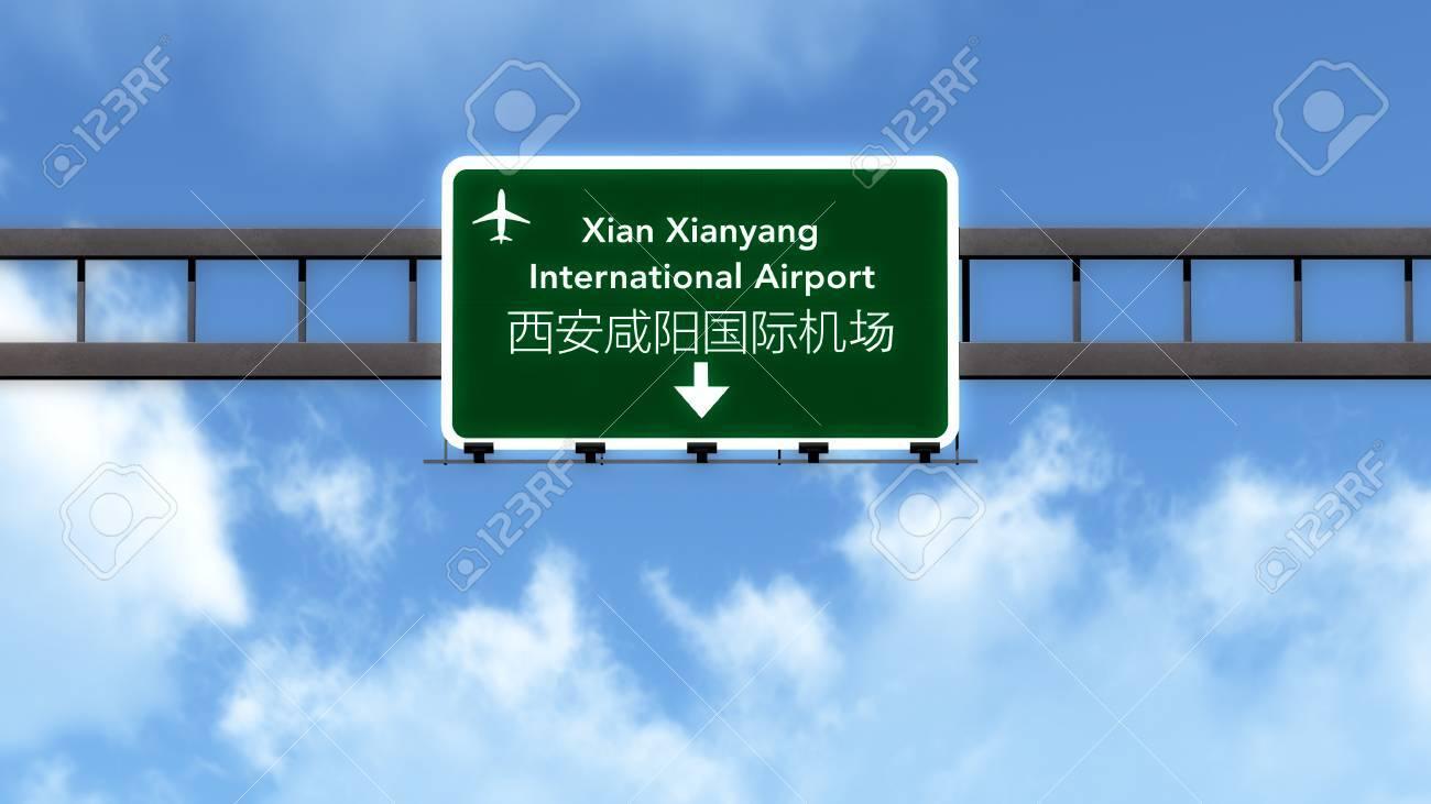Xian Aeroporto : Xian china airport highway road sign d illustration stock photo