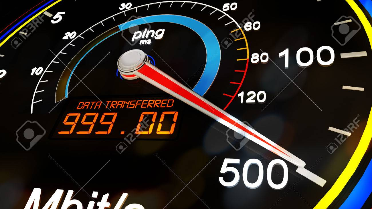 Internet bandwidth download upload speed meter stock illustration.