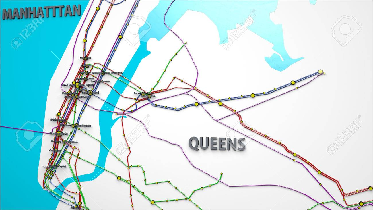 Subway Map New York Manhatten.Stock Illustration