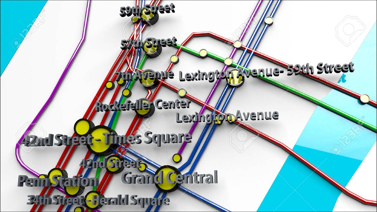 Official Ny Subway Map.Stock Illustration