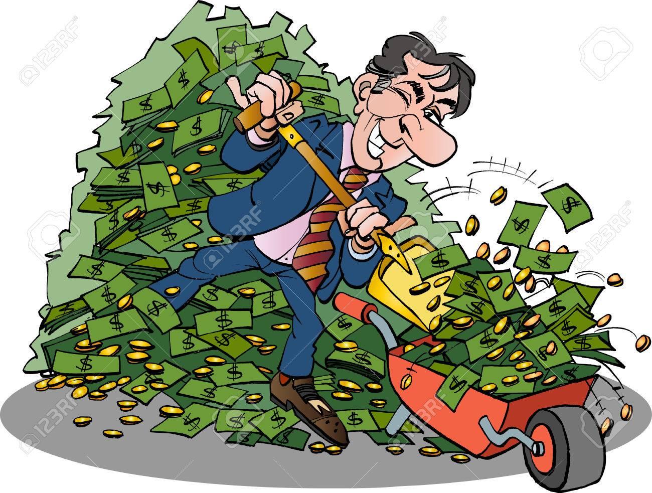 Vector Ilustración De Dibujos Animados De Un Gerente Con El Dinero Muy Fácil
