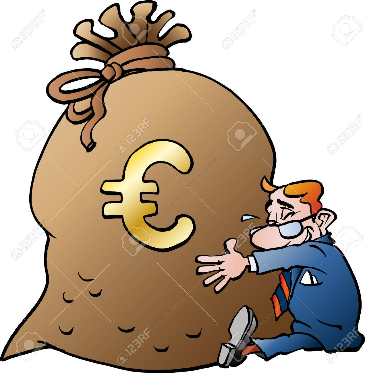 Vector Cartoon Illustration Of A Businessman Hugging A Sack Of