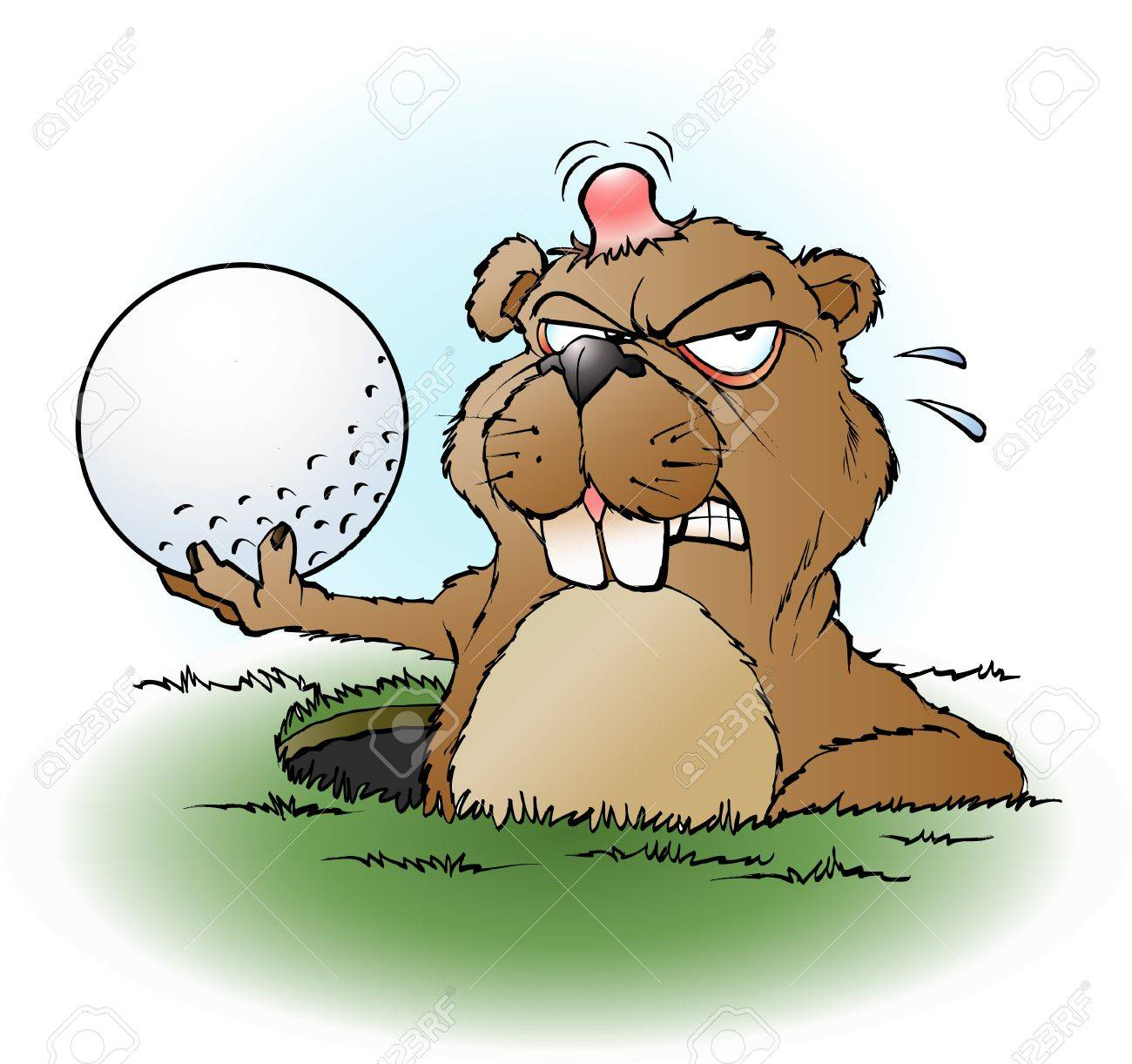 cartoon illustration of an angry prairie dog with a golf ball - 51288864