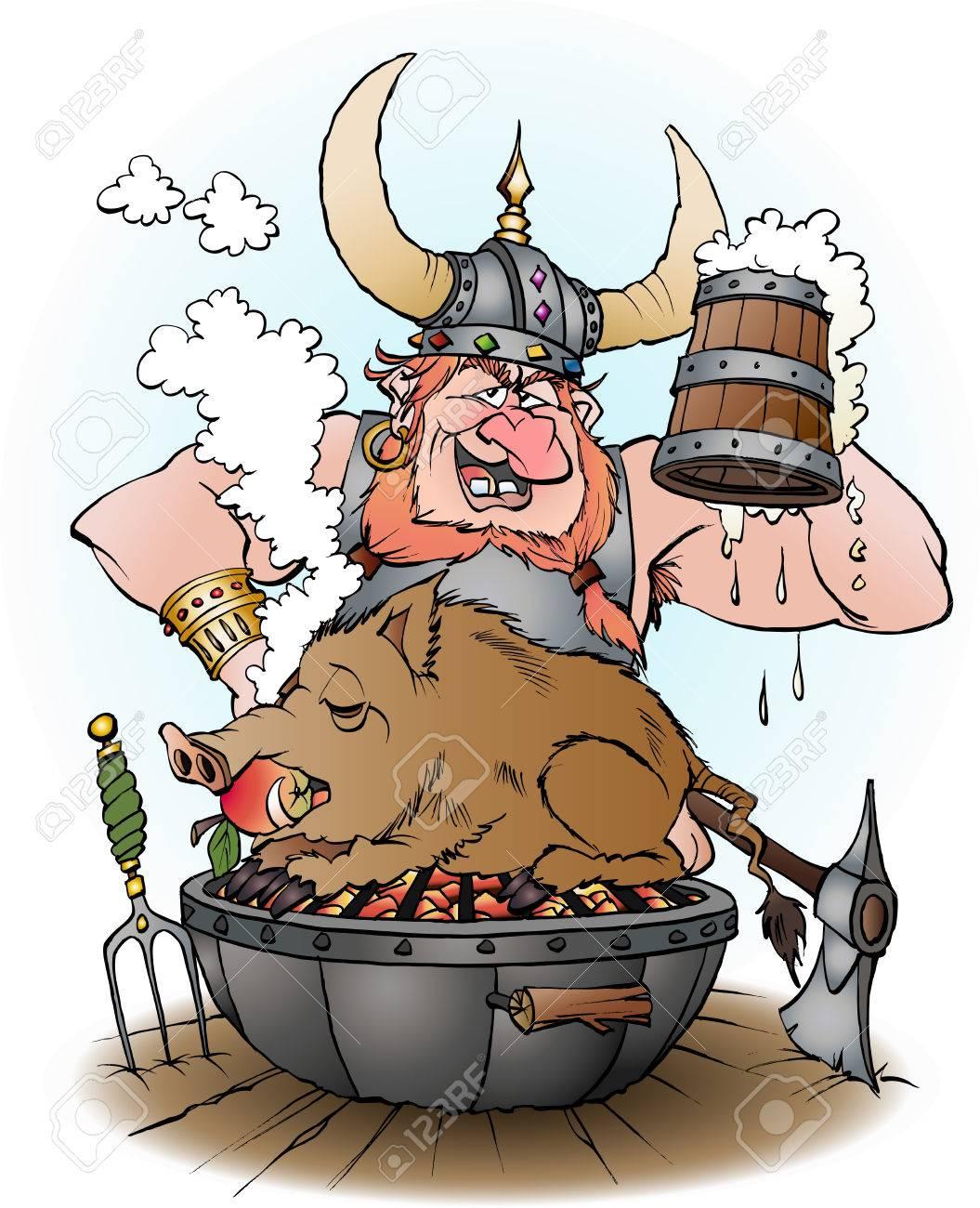 Cartoon Illustratie Van Een Viking Uitnodigt Om Te Feesten Royalty ...
