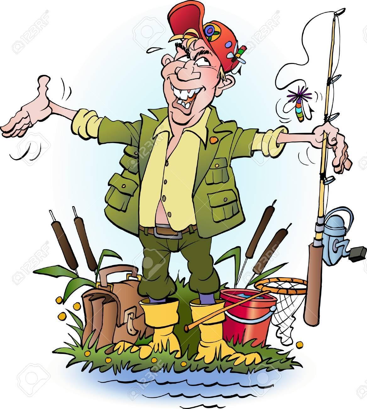 Vector cartoon illustration an angler who lie - 53300148
