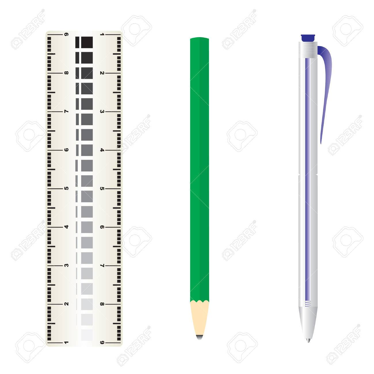 ruler, pencil and rolling pen Stock Vector - 5822696