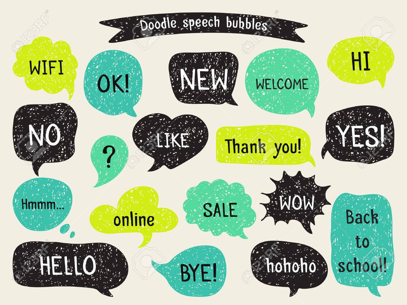 Set of hand drawn speech and thought bubbles. Doodle design with short messages. - 50369016