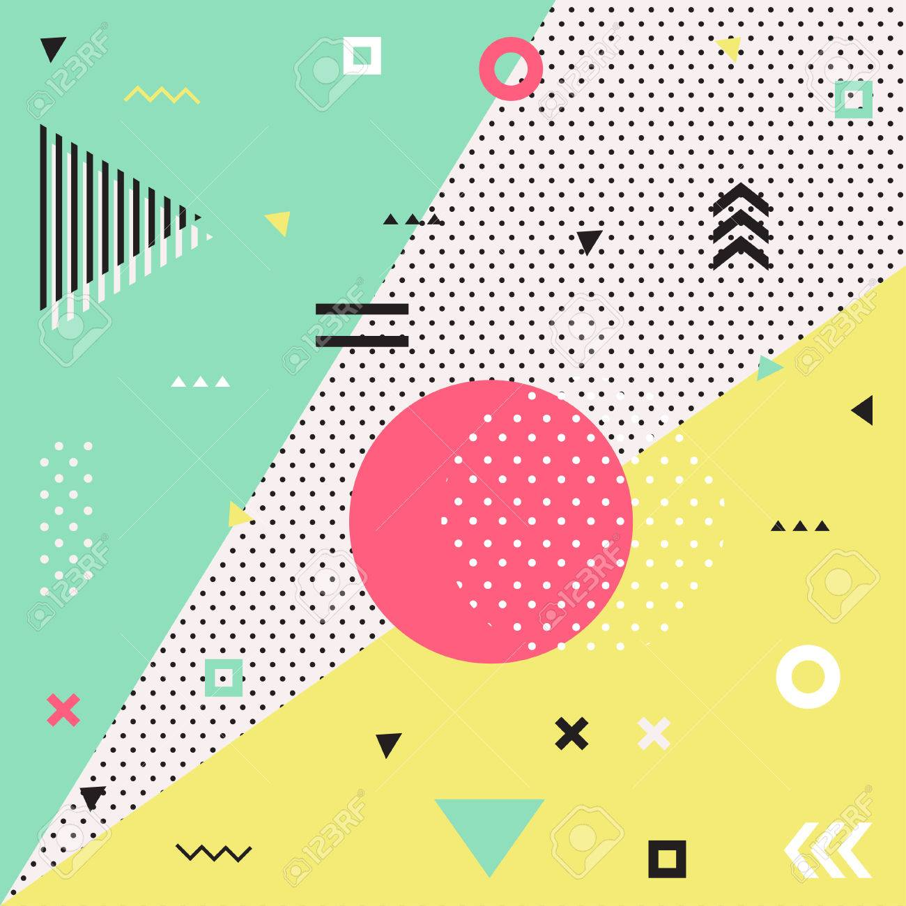 Retro style texture, pattern and geometric elements. Modern abstract design poster, cover, card design. - 58645323