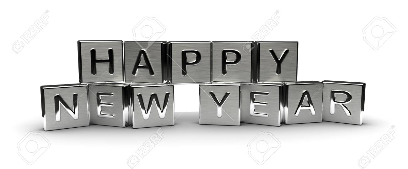 Metal Happy New Year Text Isolated on white background - 40281828