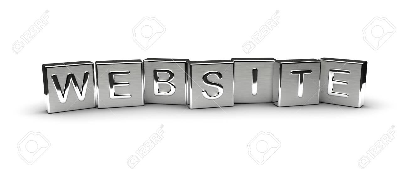 Website Text on Metal Block (Isolated on white background) - 121132445