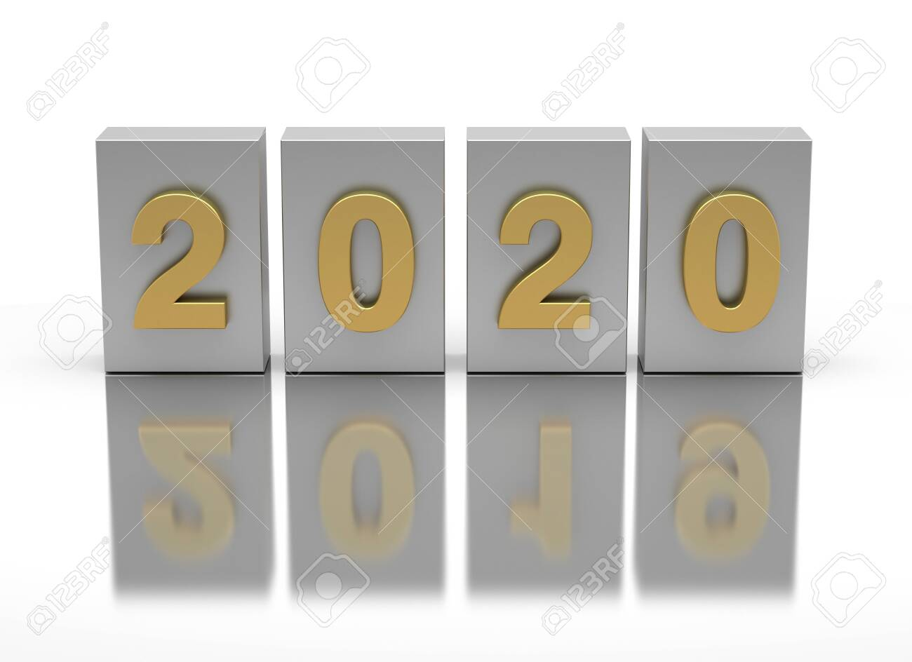 New Year 2020 and old 2019 on white background - 142619532