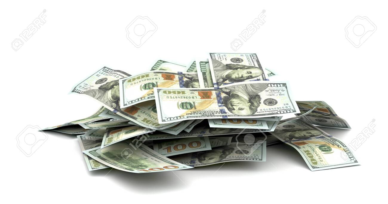 Stack of US Dollars (Isolated on white background) - 142619540