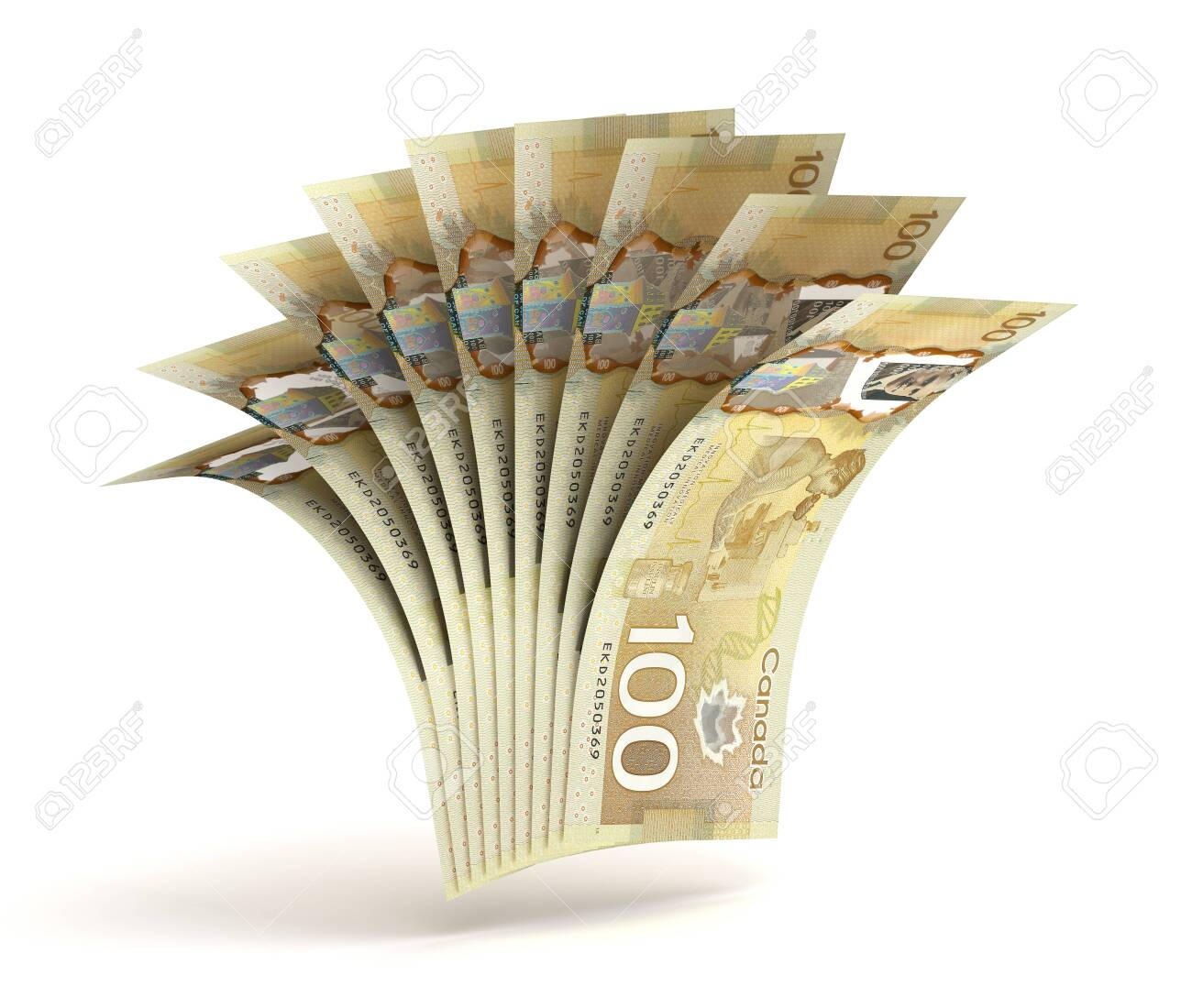 Many Canadian Dollars (Isolated by clipping path) - 147325994