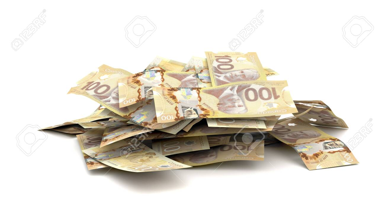 Stack of Canadian Dollars (Isolated on white background) - 147326042