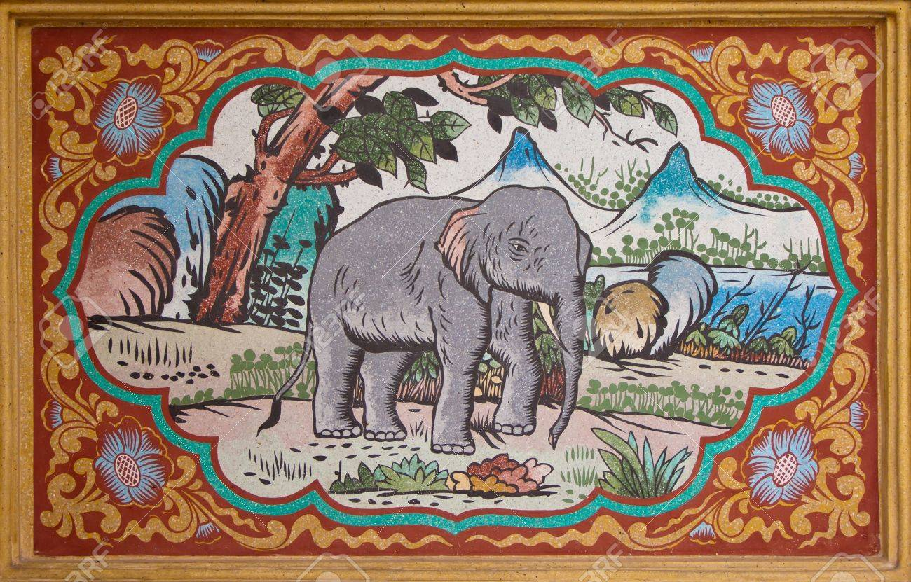 Design Style Of Traditional Chinese Painting Elephant On The